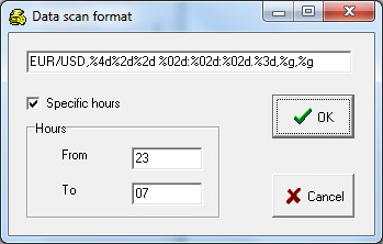 Forex Tick-by-tick data editor: selecting hours